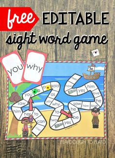 Arrr you ready to work on some sight words? This fun free editable sight word game is pirate themed and a perfect hands-on activity for kindergarten and first grade kids working on sight words! Word Games For Kids, Sight Word Activities, Writing Games For Kids, English Games For Kids, Word Work Games, Word Work Stations, Spanish Activities, Art Activities For Kids, Reading Activities