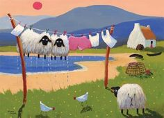 Sheep drying on the clothes line, farm whimsy folk art by Thomas Joseph on tomjoe.com♥🌸♥