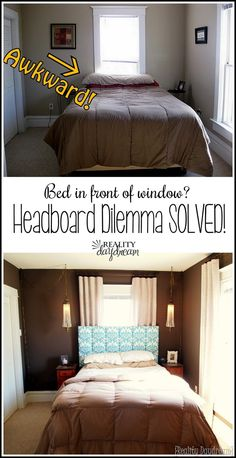 headboard to the wall over a window. with room for your curtains to hang! {Sawdust and Embryos}Installing your headboard to the wall over a window. with room for your curtains to hang! {Sawdust and Embryos} Bed Without Headboard, Window Headboard, Window Bed, No Headboard, Bed Against Window, Window Behind Bed, Headboard Ideas, Dream Bedroom, Home Bedroom