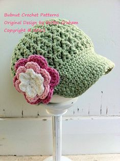 Newsboy Crochet Hat Pattern No.207 SEVEN Sizes par bubnutPatterns