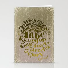 Kicking up gold dust on the streets of glory Stationery Cards by Adrian Rogers Collection - $12.00
