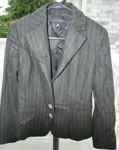 23e4fb20ed Banana Republic Women s Dark Grey Pinstripe Wool Cashmere Blazer Jacket Size  4  fashion  clothing