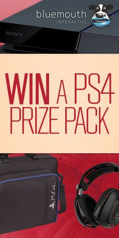 Win a PS4 Prize Pack Bluemouth Interactive wants fans on Facebook and will reward your like with a chance to win a PS4, an Astro A50 Wireless headset, a PS4 carry bag, and three games. #Bluemouth #PS4 #gaming