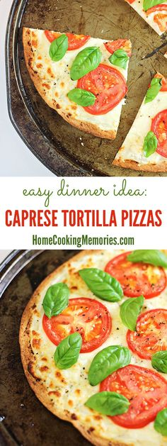 Caprese Tortilla Pizzas - an easy dinner idea, perfect for summer tomatoes! 20 minutes or less to make.
