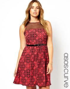 ASOS CURVE Exclusive Skater Dress With Floral Mesh sizes 18-28