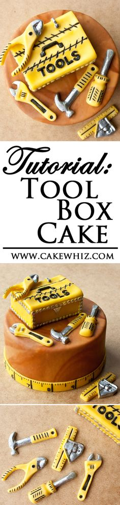 TOOL BOX CAKE with full tutorial. The perfect cake to serve on Father's day. From cakewhiz.com (Baking Tools Art)