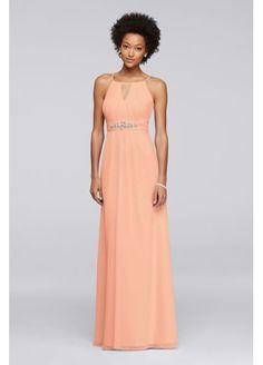 Long Bridesmaid Dress with Keyhole and Beading JP291757