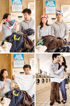 Unique + Goofy Los Angeles Engagement Session at the Laundry Mat // Christine Chang Photography Engagement Photography, Engagement Session, Goofy Couples, Laundry, Poses, Unique, Laundry Room, Figure Poses, Laundry Service