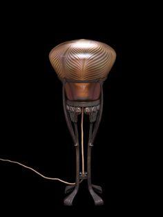 Gustav Gurschner Wien, Patinated Bronze and Loetz glass Lamp. Corning Museum Of Glass, Glass Museum, Corning Glass, Chandelier Lamp, Chandeliers, Vase Shapes, Antique Lamps, Art For Art Sake, Modern Glass