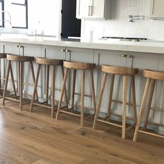 Julie Oeser added a photo of their purchase Counter Stools With Backs, Wooden Bar Stools, Modern Counter Stools, Counter Height Bar Stools, Swivel Bar Stools, Curved Kitchen Island, Stools For Kitchen Island, Weathered Oak, Wooden Kitchen