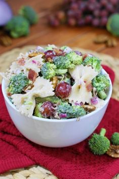 Broccoli Pasta Salad with Grapes ~ all the flavors of traditional broccoli salad, with the addition of a hearty dose of pasta.    www.thekitchenismyplayground.com