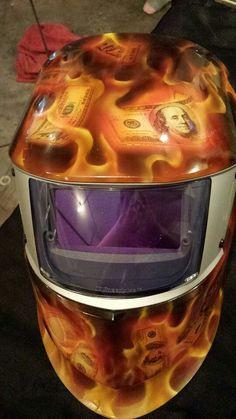 Airbrushed welding helmet