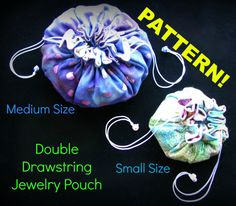 PATTERN for Double Drawstring Jewelry Pouch, Jewelry Oranizer, Small Object Ditty Bag by LittleKittens on Etsy