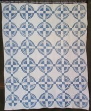 New York Beauty c1900 Antique Quilt Blue & White