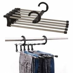 Fashion and multifunctional trousers hanger is made of stainless steel and ABS  which can save your closet space and convenient hang the trousers. Also, it have a retractable function that you can easy to choose your pants.