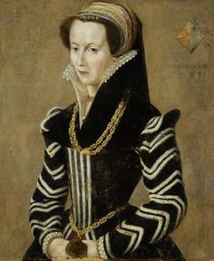 French School, Century Portrait of a lady, half-length, in unframed. Technically they are applied bands but hello stripy chevrons! Mode Renaissance, Renaissance Clothing, Renaissance Fashion, Tudor Fashion, 16th Century Clothing, 16th Century Fashion, 14th Century, Elizabethan Costume, Elizabethan Era