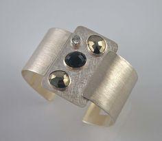Sterling Black onyx Pyrite and Zirconia Cuff by kimdangelojewelry