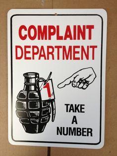 Complaint Department Funny Gift PVC Street Sign Bar Man Cave 8 5 12 | eBay