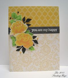 supplies: Altenew Vintage Roses, Hero Arts/Studio Calico My Happy sentiment, Authentique Classique Beauty design papers, gold and black pearls, Sizzix branch with leaves die