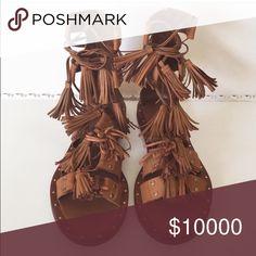 iOS Zara tassel sandals Brown sandals with tassel details  Shoes Sandals