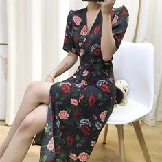100% Viscose Wrap Floral Print Ladies Vintage Mid Calf Gabin Dress Elegant Maxi Dress, Calves, Wrap Dress, Floral Prints, Lady, Stuff To Buy, Vintage, Dresses, Fashion