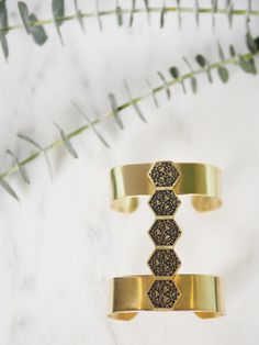 Wideband 5-Hex Cuff in Brass on Marble  // Inspired by San Francisco architecture and handmade in California