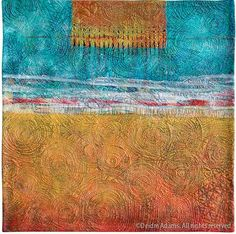 "Deidre Adams does not work like you and me, she does things ""upside down"". She paints the fabrics of her quilts after assembling them and quilting! Fiber Art Quilts, Art Quilting, Quilt Art, Longarm Quilting, Landscape Quilts, Contemporary Quilts, Textile Artists, Texture Art, Art Google"