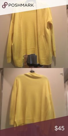 Joie Yellow sweater Cashmere. Beautiful! Size small. Great weight to throw on. Spot on front but will come out with dry clean Joie Sweaters Cardigans