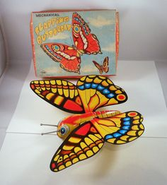 Vintage MECHANICAL FLAPPING BUTTERFLY Tin Toy w/BOX Japan Yone Litho Wind Up | eBay
