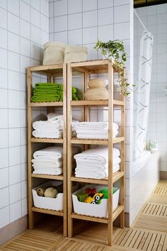 The open shelves of the IKEA MOLGER shelf unit keep all of your bath products including towels and toiletries organized and accessible! IKEA - MOLGER, Shelf unit, birch, The open shelves give a clear overview and easy access. Ikea Molger Regal, Small Bathroom Storage, Small Bathrooms, Modern Bathroom, Wood Bathroom, Simple Bathroom, Bath Bomb Storage, Small Bathroom Ideas, Pool Towel Storage
