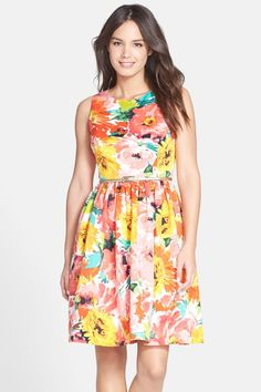 Belted Print Faille Fit & Flare Dress  by Eliza J on @nordstrom_rack