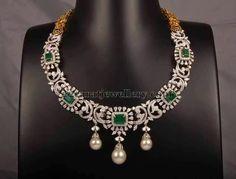 Jewellery Designs: Diamond Emerald Necklace