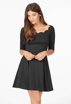 Show off a little shoulder in something flirty and feminine! This fit-and-flare dress is ready for date night and its scalloped neckline is sure to make your date blush!...