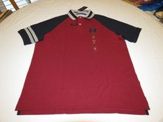 Mens Tommy Hilfiger Polo shirt S 7880973 Grey Heather 611 burgnd Classic Fit NEW #TommyHilfiger #polo