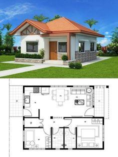 New house ideas plans design bath Ideas 2 Bedroom House Plans, My House Plans, Modern House Plans, Small House Plans, Simple House Design, Tiny House Design, Modern House Design, Modern Bungalow House, Bungalow House Plans