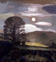 "lilithsplace: "" Moon and Tree, Hay Bluff, 1990 - David Inshaw (b. Scenary Paintings, Paintings I Love, Contemporary Landscape, Landscape Art, Landscape Paintings, Nocturne, Tree Artwork, Good Night Moon, Portraits"