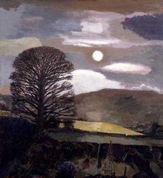 "David Inshaw (British, b. 1943) - ""Moon and Tree, Hay Bluff"", 1990"
