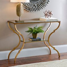 Geometric Gold Glass Console Table | Kirklands