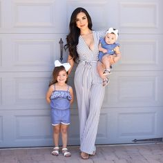 Give Me Merci Jumpsuit – White/Navy – Daily Fashion Mom Daughter Matching Outfits, Mommy And Me Outfits, Family Outfits, Kids Outfits, Girls Fashion Clothes, Baby Girl Fashion, Kids Fashion, Fashion Outfits, Daily Fashion