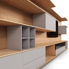 The Cassia wall unit by @mobican offers so many options that it can be tailored each client's preferences and needs. It is available in 22 different wood finishes and the inserts are available in 9 different solid colours.