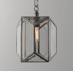 RH baby&child's Giles Small Lantern Pendant - Pewter:Offering a streamlined…