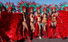 Masqueraders from the Harts band parade during their 'Je Taime Carnival' presentation on the final day of the #Trinidad and #Tobago #Carnival at Queen's Park Savannah in Port of Spain