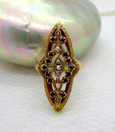 Antikes 14K Gelb Gold Rose Diamanten, blauen Saphiren und Seed Perlen Ring, Größe 11. Einen schönen antiken Anweisung Ring! Einstellung der