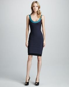 Basic Colorblock Bandage Dress by Herve Leger at Neiman Marcus.