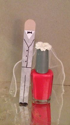 Bridal shower favors I made! Bride nail polish and groom nail file sleeve!