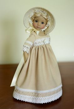 "SOLD ""At the Wedding"" Regency Dress, Outfit for 13"" Dianna Effner Little Darling #LuminariaDesigns"
