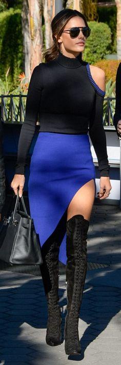 Alessandra Ambrosio in Sunglasses – Linda Farrow  Sweater and skirt – David Koma  Purse – Hermes  Shoes – LeSilla
