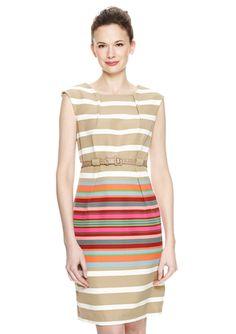 EMMA & MICHELE Belted Stripe Sheath Dress @ideeli