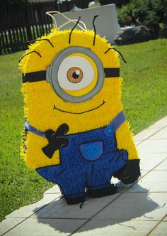 Fun Minion pinata at a Despicable Me party!  See more party ideas at CatchMyParty.com!