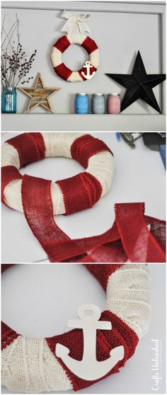 It only takes about 5 minutes and a few supplies to make your own nautical inspired DIY burlap wreath! #burlap_crafts_summer